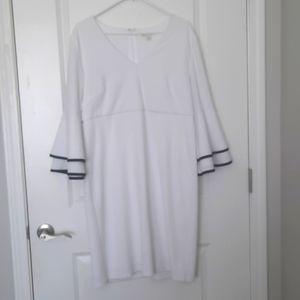 White Dress Trimmed in Blavk